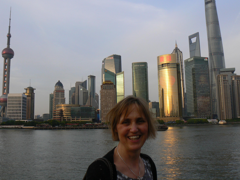 Liz Smedley on the Bund in Shanghai
